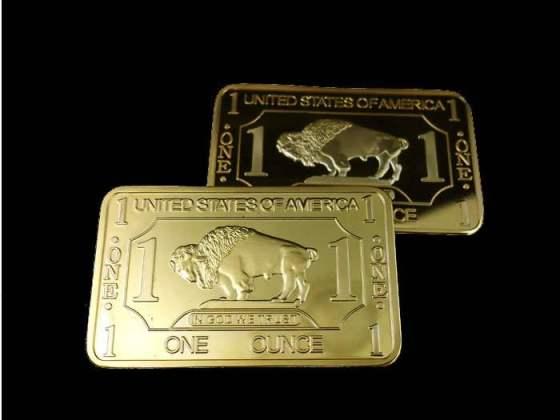 High-Quality-1-Troy-Ounce-Gold-Plating-bullion-BUFFALO-BAR-30pcs-lot-EMS-Free-shipping