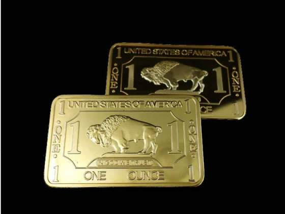 High-Quality-1-Troy-Ounce-Gold-Plating-bullion-BUFFALO-BAR-30pcs-lot-EMS-Free-shipping